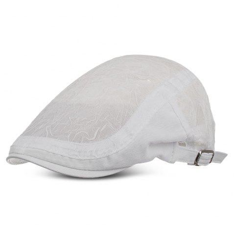Women Newsboy Flat Cap Chiffon Folds Breathable Beret Hats for Girls Ladies - WHITE