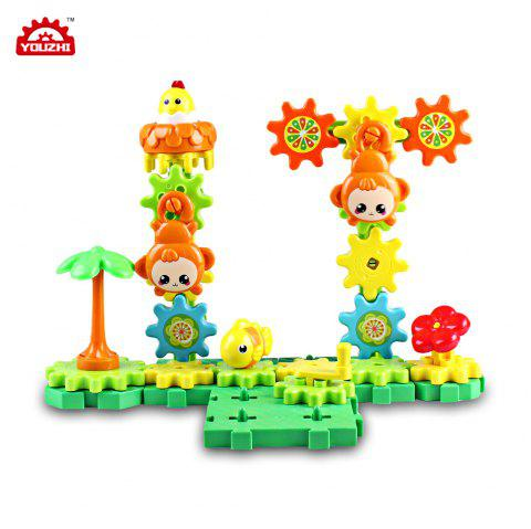 YOUZHI TS5303A - 2 54PCS Kids Assembled Gear Building Blocks Forest Toy - multicolor