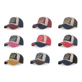 Color Blocking Spliced Design Baseball Cap Letter Print Sport Pop Style - COFFEE