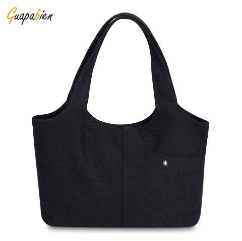 Guapabien Canvas Handbag Shopping Women Shoulder Female Daily Casual Tote Bag - BLACK