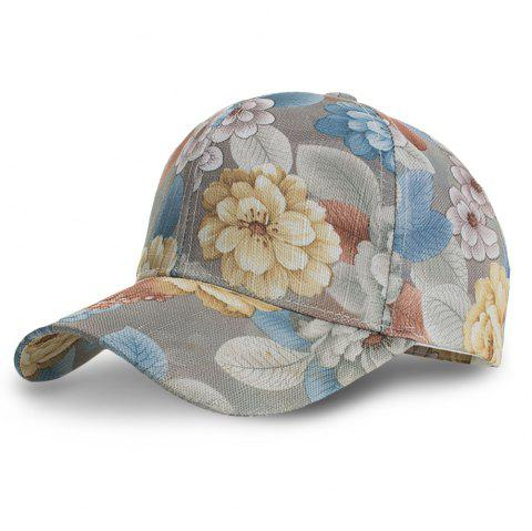 Lace Floral Printing Baseball Cap Adjustable Casual Outdoor Hat - GRAY