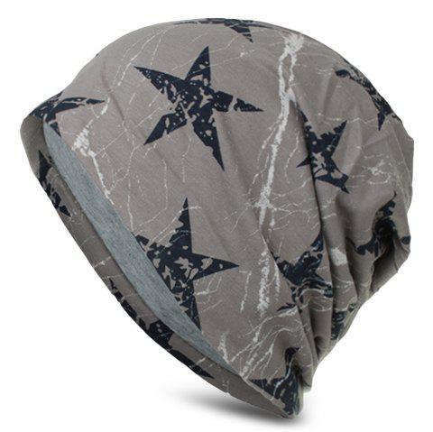 Stars Printing Hat Men Women Soft Cap Casual Skullies Beanies - LIGHT GRAY