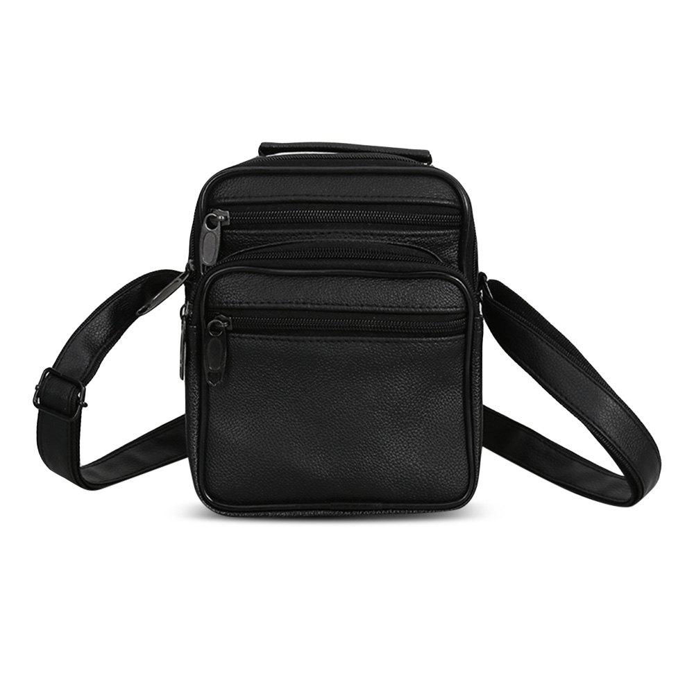 Solid Color Casual Small PU Leather Soft Women Shoulder Crossbody Messenger Bag - BLACK VERTICAL