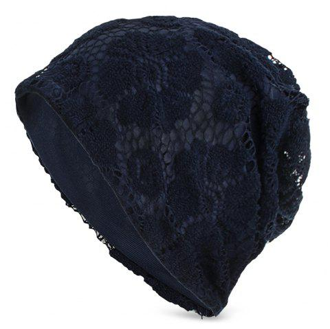 Lace Knitted Warm Skullies Beanies Hat Men Women Daily Outdoor Cap - CADETBLUE