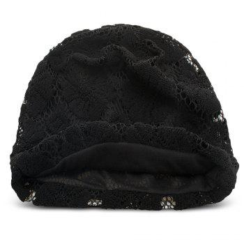 Lace Knitted Warm Skullies Beanies Hat Men Women Daily Outdoor Cap - BLACK