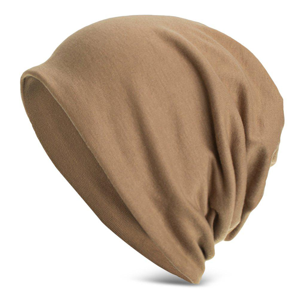 Women Men Cap Stretch Skullies Beanie Warm 3 in 1 Bib Headscarf Hat - LIGHT KHAKI