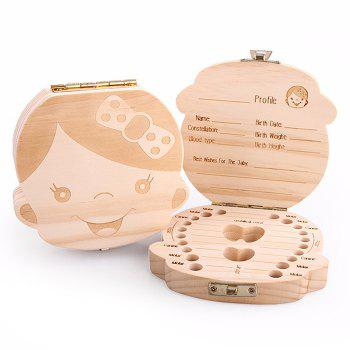 Baby Girl Boy Tooth Organizer Wooden Box Save Milk Teeth Storage