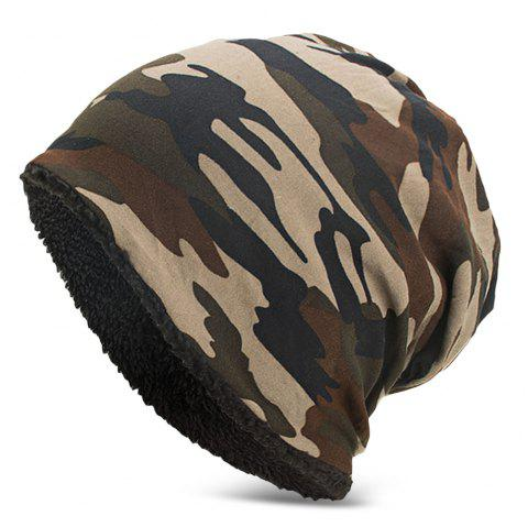 Men Women Warm Skully Hat Beanies Camouflage Thick Soft Stretch Female Male Cap - COFFEE