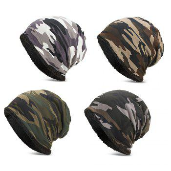 Men Women Warm Skully Hat Beanies Camouflage Thick Soft Stretch Female Male Cap - BLACK