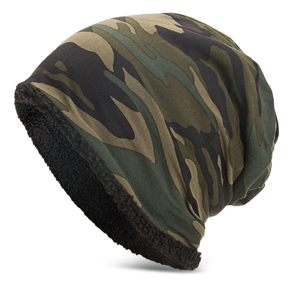 Men Women Warm Skully Hat Beanies Camouflage Thick Soft Stretch Female Male Cap - ARMY GREEN