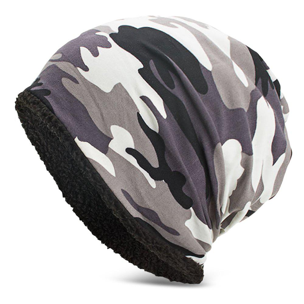 Men Women Warm Skully Hat Beanies Camouflage Thick Soft Stretch Female Male Cap - WHITE