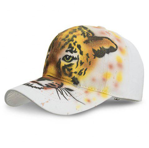 Handmade Hand Painted Art Animal Baseball Ball Adjustable Visor Hat - TIGER ORANGE