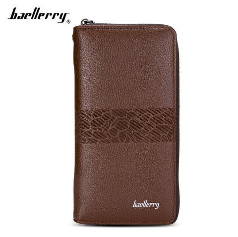 Baellerry PU Leather Men Wallet Coin Pocket Vintage Long Male Money Card Holder - COFFEE