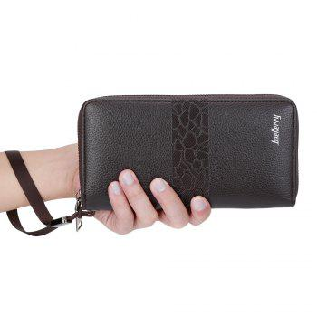 Baellerry PU Leather Men Wallet Coin Pocket Vintage Long Male Money Card Holder - DEEP COFFEE