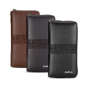 Baellerry PU Leather Men Wallet Coin Pocket Vintage Long Male Money Card Holder - BLACK
