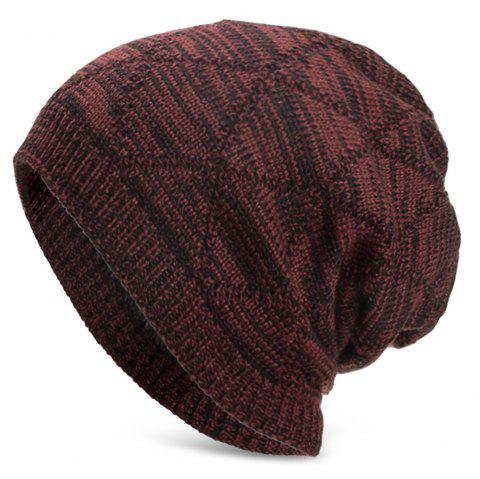 Knitted Wool Cap with Fluff Inside Chaotic Rhombic Pullover Casual Outdoor Hat - RED WINE