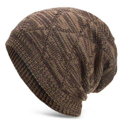 Knitted Wool Cap with Fluff Inside Chaotic Rhombic Pullover Casual Outdoor Hat - DARK KHAKI