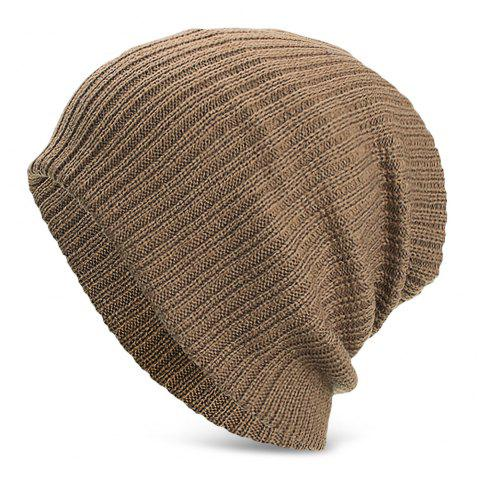 Men Women Solid Color Vertical Stripes Knitted Hat Plush Warm Cap - LIGHT KHAKI