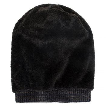 Knitted Wool Cap with Fluff Inside Chaotic Rhombic Pullover Casual Outdoor Hat - CADETBLUE