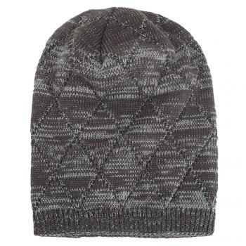 Knitted Wool Cap with Fluff Inside Chaotic Rhombic Pullover Casual Outdoor Hat - GRAY