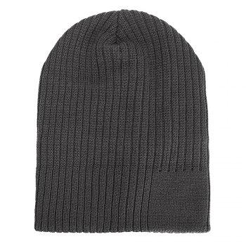 Men Women Solid Color Vertical Stripes Knitted Hat Plush Warm Cap - GRAY