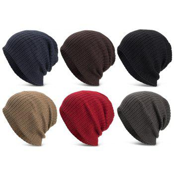 Men Women Solid Color Vertical Stripes Knitted Hat Plush Warm Cap - RED