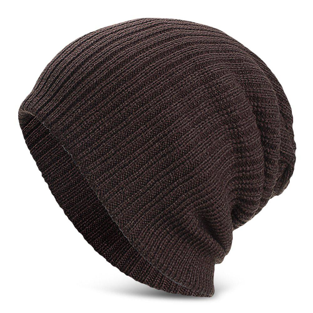 Men Women Solid Color Vertical Stripes Knitted Hat Plush Warm Cap - COFFEE
