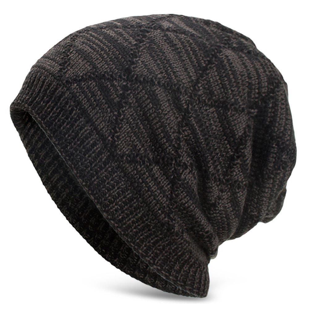 Knitted Wool Cap with Fluff Inside Chaotic Rhombic Pullover Casual Outdoor Hat - BLACK