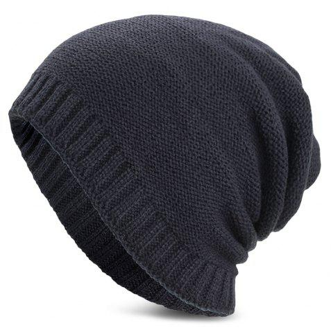 Unisex Warm Skully Hat Beanie Solid Color Thick Soft Stretch Kniting Cap - CADETBLUE