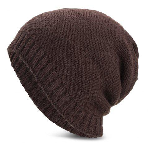 Unisex Warm Skully Hat Beanie Solid Color Thick Soft Stretch Kniting Cap - COFFEE