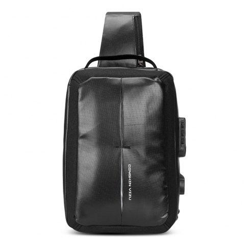 DINGXINYIZU Men's Single Shoulder Waterproof Smart Password Lock Chest Bag - BLACK