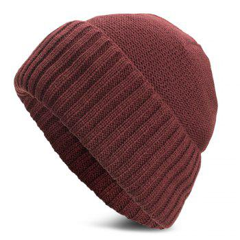 Unisex Warm Skully Hat Beanie Solid Color Thick Soft Stretch Kniting Cap - RED WINE
