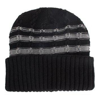 WM090 Unisex Striped Knitted Soft Winter Warm Cap - BLACK