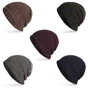 Knitted Wool Cap Fluff Inside Corn Niplet Pullover Casual Outdoor Hat - BLACK