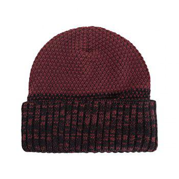 Knitted Wool Cap Fluff Inside Corn Niplet Pullover Casual Outdoor Hat - RED WINE