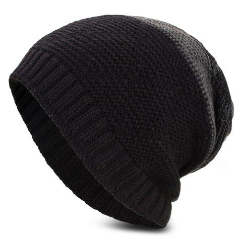 Knitted Wool Hat Winter Plus Thick Fluff Line Cap Headgear for Men Women - BLACK