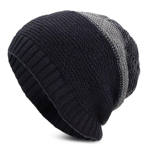 Knitted Wool Hat Winter Plus Thick Fluff Line Cap Headgear for Men Women - CADETBLUE