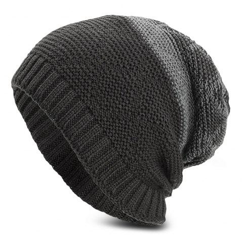 Knitted Wool Hat Winter Plus Thick Fluff Line Cap Headgear for Men Women - GRAY