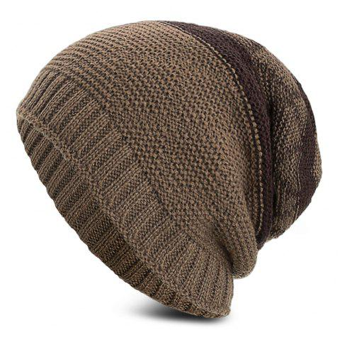 Knitted Wool Hat Winter Plus Thick Fluff Line Cap Headgear for Men Women - LIGHT KHAKI