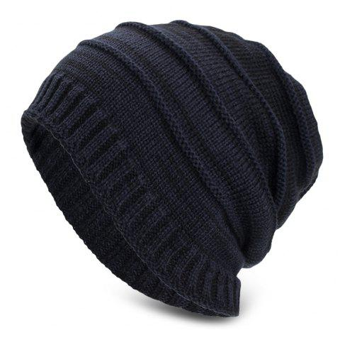 Knitted Wool Cap Fluff Inside Cross Stripe Pullover Casual Outdoor Hat - CADETBLUE