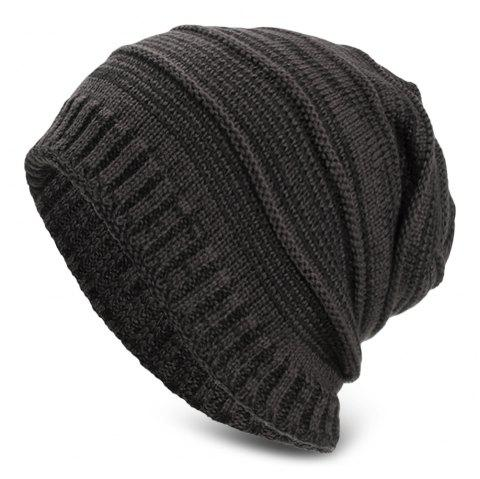 Knitted Wool Cap Fluff Inside Cross Stripe Pullover Casual Outdoor Hat - GRAY