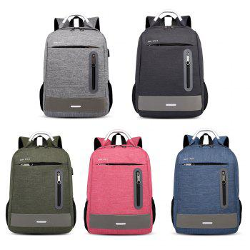USB Charging Earphone Hole Laptop Backpack Canvas Large Capacity Men Travel Bag - BLACK