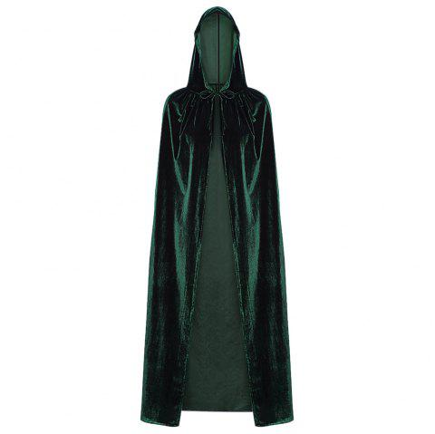 Hooded Collar Cloak Halloween Costume Solid Color Velour Cape - DEEP GREEN ONE SIZE(FIT SIZE XS TO M)