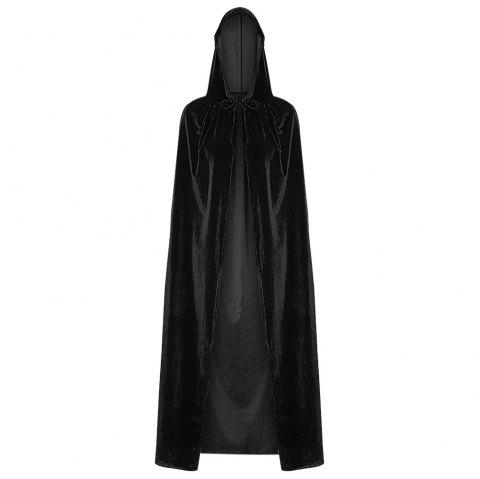 Hooded Collar Cloak Halloween Costume Solid Color Velour Cape - BLACK ONE SIZE(FIT SIZE XS TO M)