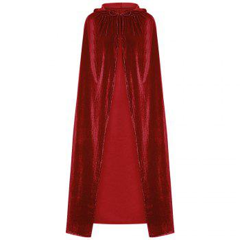 Hooded Collar Cloak Halloween Costume Solid Color Velour Cape - CHILLI PEPPER ONE SIZE(FIT SIZE XS TO M)