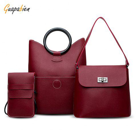 Guapabien 3PCS Fashion Classic Women PU Leather Shoulder Bag - RED WINE
