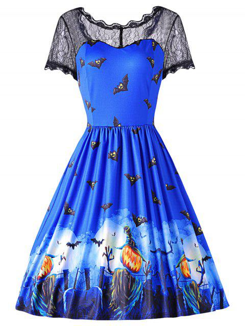 Round Collar Short Sleeve Spliced Lace Bat Print Halloween Dress - EARTH BLUE M