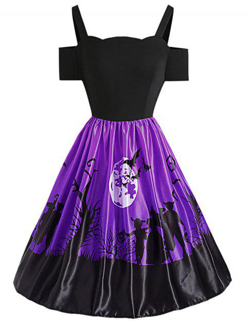 Cold Shoulder Backless Short Sleeve Halloween Print A-line Dress - VIOLET M
