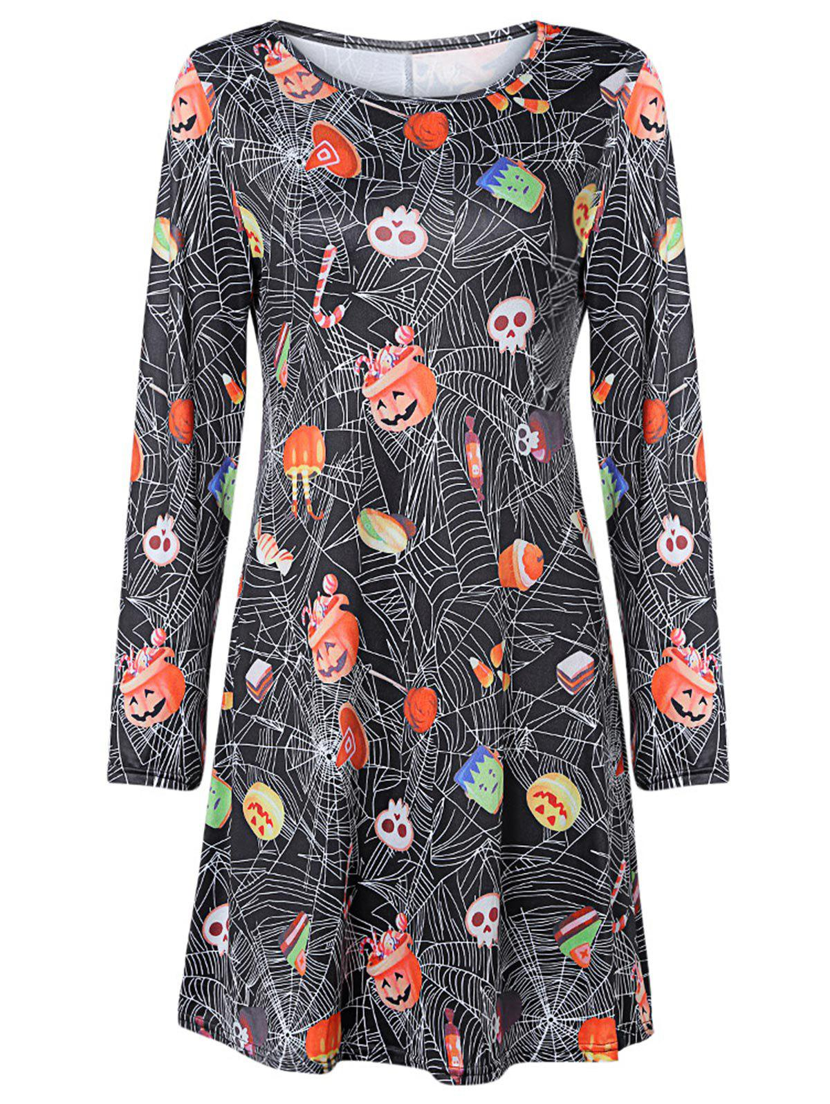 Round Collar Long Sleeve Halloween Print Dress - multicolor L