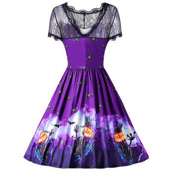 Round Collar Short Sleeve Spliced Lace Bat Print Halloween Dress - PURPLE IRIS M